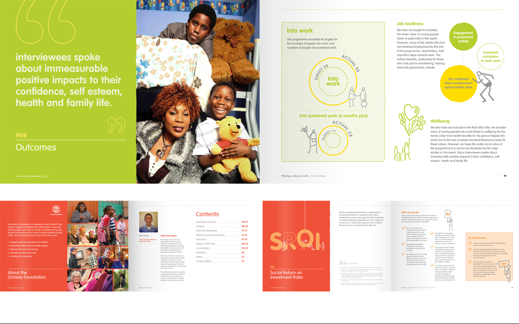 Octavia Foundation SRoI Impact Report layouts