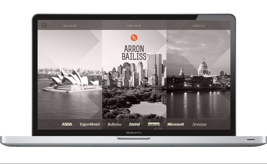 Arron Bailiss home page with three simple navigation options.