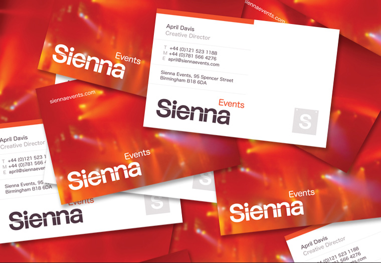Sienna Events stationery - business card design.
