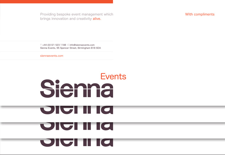 Sienna Events stationery - letterhead design.