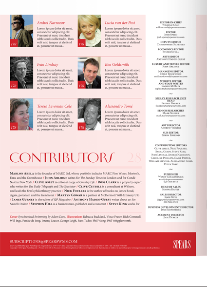 Redesign of the Spear's regular contributors page.